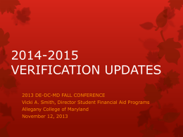 2014-2015 VERIFICATION UPDATES - Welcome | DE-DC-MD
