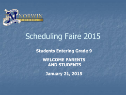 Scheduling Orientation - Norwin School District
