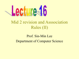 Asssociation Rules - SJSU Computer Science Department