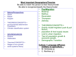 Most important Geographers/Theories