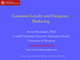 Frequency and Loyalty Marketing