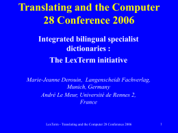 Translating and the Computer 28 Conference 2006