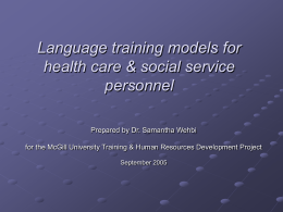 Language training models in health and social services