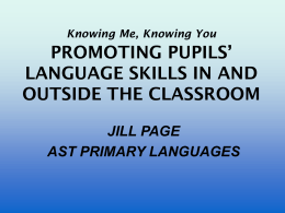 PROMOTING PUPILS' LANGUAGE SKILLS IN AND OUTSIDE …