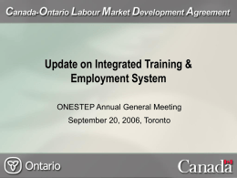 Canada Ontario Labour Market Development Agreement