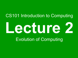 Evolution of Computing