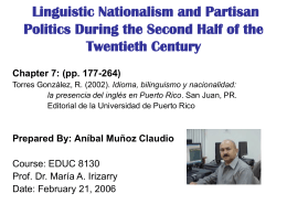 Chapter 7: Linguistic Nationalism and Partisan Politics