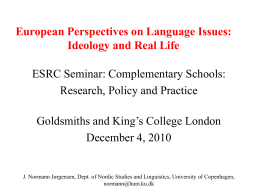 European Perspectives on Language Issues: Ideology and