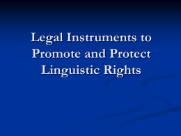 Legal Instruments to Promote and Protect Linguistic Lights
