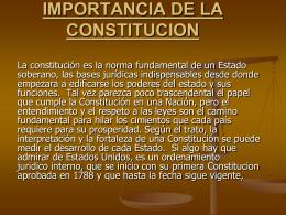 IMPORTANCIA DE LA CONSTITUCION