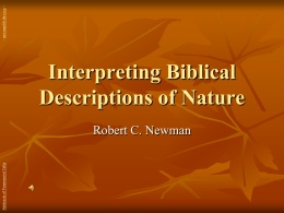 Interpreting Biblical Descriptions of Nature