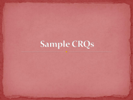 Sample CRQs - Sewanhaka High School