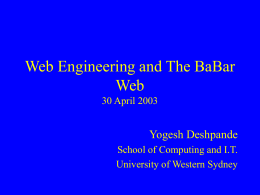 Web Engineering and The BaBar Web