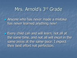 Mrs. Arnold's 3rd Grade