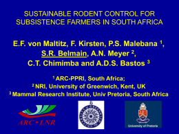SUSTAINABLE RODENT CONTROL FOR SUBSISTENCE …