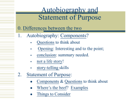 Autobiography and Statement of Purpose