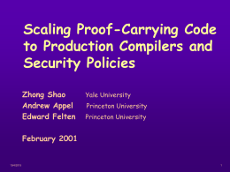Scaling PCC to Production Compilers and Security Policies