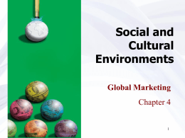 Chapter 4 Social and Cultural Environments