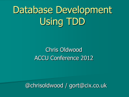 Database Development Using TDD