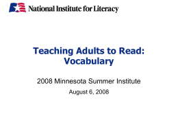 NIFL PPT Teaching Adults to Read: Vocabulary