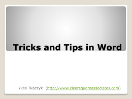 Word 2007 Tips and Tricks