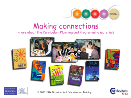 Making connections - Curriculum Support