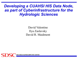 Developing a CUAHSI HIS Data Node, as part of