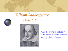 William Shakespeare 1564-1616 - MrPlewis