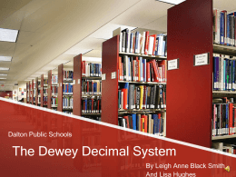 The Dewey Decimal System - University of West Georgia