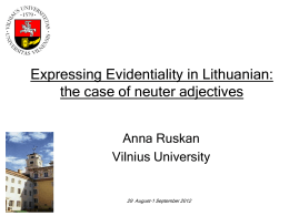 Evidential Adjectives in Lithuanian Academic Discourse