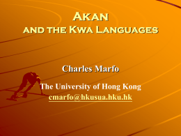 Akan and the Kwa Languages