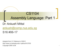 CS1104 Assembly Language: Part 1