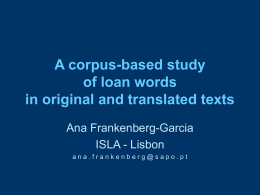 A corpus-based study of loan words in original and