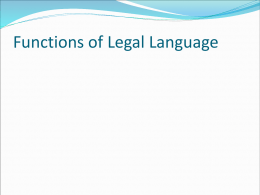 Legal Language as a Language for Special Purposes