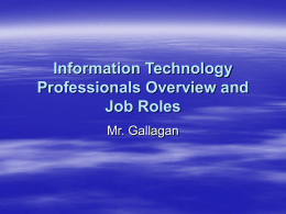 Information Technology Overview and Job Roles