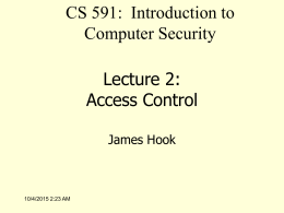 Lecture 2: Access Control - Portland State University