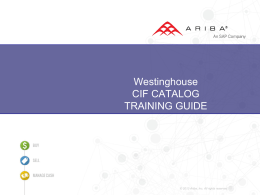 CIF CATALOG TRAINING GUIDE
