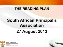 THE READING PLAN - South African Principals Association