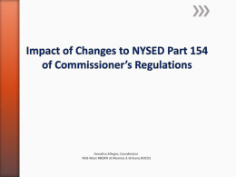 Impact of changes to NYSED regualtions