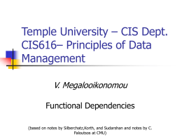 Temple University – CIS Dept. CIS661 – Principles of Data