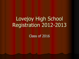 Lovejoy High School Registration 2010-2011