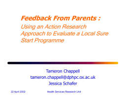 Parent Feedback on Sure Start