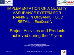 IMPLEMENTATION OF A QUALITY ASSURANCE SYSTEM …