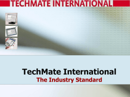 TechMate International Presentation to: Graebel Van Lines