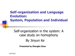 Self-organization and Language Evolution: System