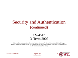 Security and Authentication (continued)
