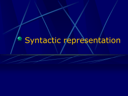 Syntactic representation