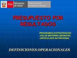 MINISTERIO DE SALUD PRESUPUESTO POR RESULTADOS