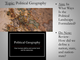 Topic: Political Geography