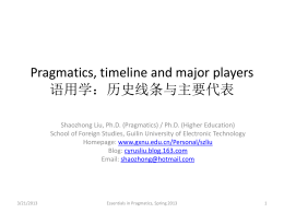 Pragmatics, timeline and major players 语用学:历史线条 …